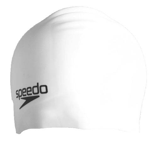 Шапочка для плавания Speedo Plain moulded silicone cap белый -