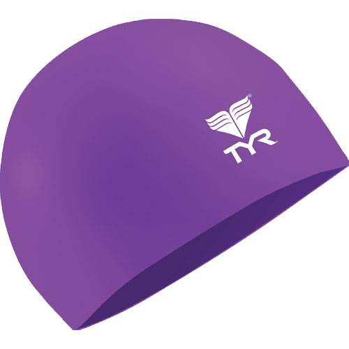 Шапочка для плавания Tyr Latex Swim Cap фиолетовый - белый LCL