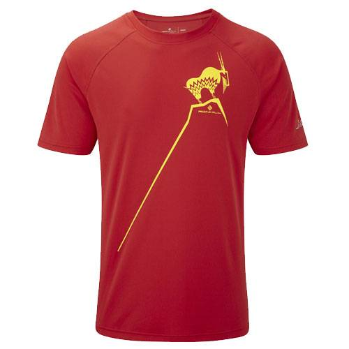Футболка беговая Ronhill Trail mountain goat tee красный - желтый RH000376