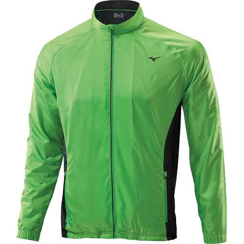 Ветровка беговая Mizuno Breath Thermo Jacket AW14 зеленый - черный J2GE4502