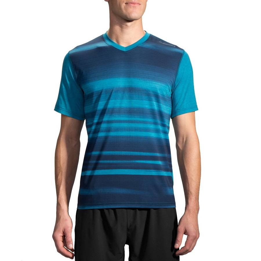 Футболка беговая Brooks Fly-By Short Sleeve бирюзовый - темно-синий 210830