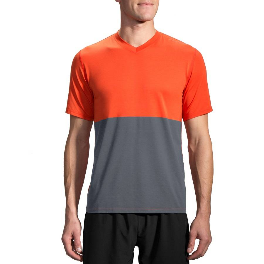 Футболка беговая Brooks Fly-By Short Sleeve серый - оранжевый 210830