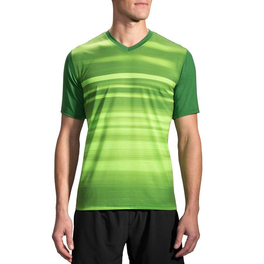 Футболка беговая Brooks Fly-By Short Sleeve зеленый - салатовый 210830