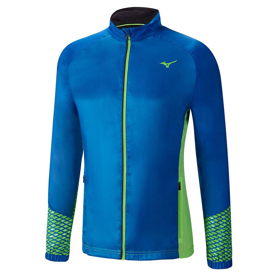 Ветровка беговая Mizuno Breath Thermo Jacket J2GE6513 синий - зеленый