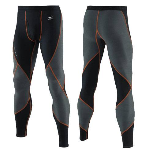 Тайтсы Mizuno Breath Thermo Jacquard Virtual Body Long Tight черный - оранжевый 73CF066